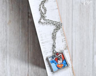 Silver Superman Pendant Necklace | Super Hero Jewelry | Single Strand Design
