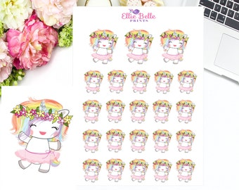 DANCING UNICORN, Rainbow Unicorn Collection, Dancing, Ballet Sticker, Rainbow Unicorn Sticker, Unicorn Sticker, Planner Sticker
