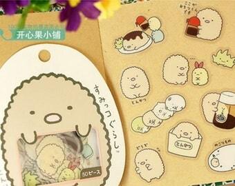 San-X Sumikko Gurashi Stickers / San-X Sticker Flakes / Kawaii Stickers / Cute Stickers / Japanese Stickers / Kawaii Tonkatsu  Pork Cutlet