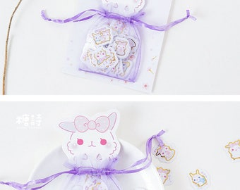 Organza Bag of Rabbit Stickers / Cute Stickers / Kawaii Stickers / Rabbit Stickers / Stickers Lot / Korean Stationery / Cute Sticker Flakes
