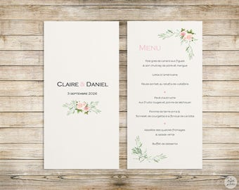 Pink-olive - Menu - wedding invitation collection