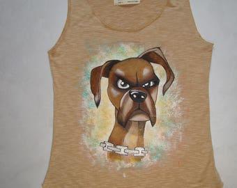 """T-shirt """"Suspicious dog"""" Art color Handmade"""
