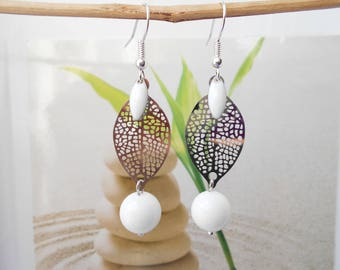 stamp sheet White Pearl Earrings