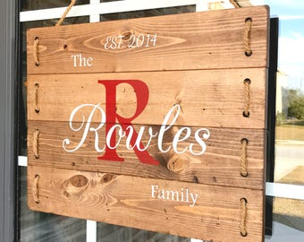 Family Monogram Wood Sign- Personalized Monogram Family Sign- Initial Wood Sign- Family Sign with Personalization- Hanging Family Name Sign