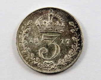 Great Britain 1917 Sterling Silver 3 Pence Coin.