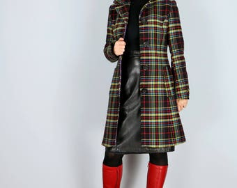 1990s Coat - Multicoloured Long Plaid Blazer Coat - XS/S - Colourful Tailored Statement Coat - Fall/Winter Coat - Made in Italy