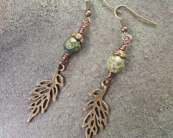 Leaf Earrings - Bronze- Wire Jewelry- Handmade, Green Dangle Earrings, Boho Woodland Earrings