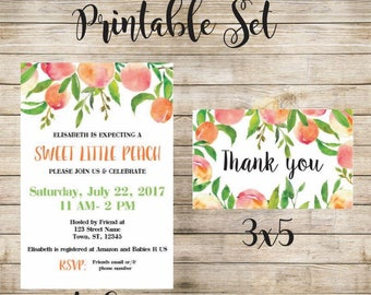 Peach Baby Shower Invitation and Thank you printable set