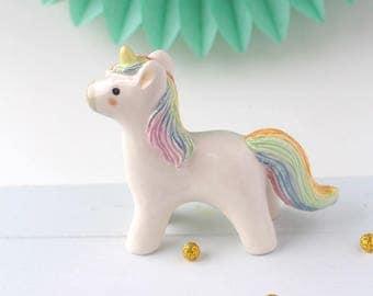 Unicorn Totem. Rainbow Colours - Handmade Ceramic. Miniature Figurine, Cake Topper, Keepsake, One Of A Kind Baby Shower, Birthday Gift.