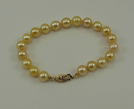 Akoya Golden Pearl Bracelet with 14k Yellow Gold Clasp 7 Inches