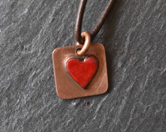 Red enamel and copper heart necklace