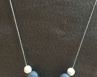 Necklace In Pale Spring Colours, Light Blue, Light Green And Light Grey Felt Beads Inter-Spaced With White Beads