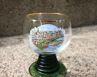 Vintage Chicago Souvenir Aperitif Glass Shot Glass Liqueur Glass Cordial Glass