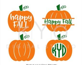 Happy Fall Pumpkin Monogram SVG files for Cricut Explore Silhouette Cameo, Fall SVG, Autumn svg files, Harvest svg, Halloween Pumpkin svg