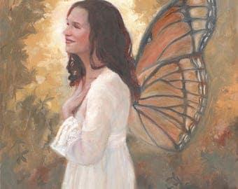 Angel with Butterfly Wings Art Print: Metamorphosis