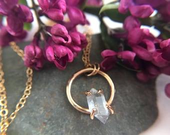 "Herkimer Diamond, 14k Goldfill Necklace. 20"" Goldfill Necklace. Gold Circle Necklace. Circle Gem Necklace.Raw Quartz Necklace.OOAK Herkimer."