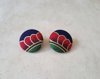 Dragon Scale Earrings - Boho Stud Earrings - Cotton Fabric Button Earrings - Fabric Stud Earrings - Cover Button Earrings - Fabric Earrings