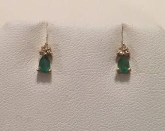 14K Yellow Gold Green Emerald & Diamond Post Stud Pierced Earrings