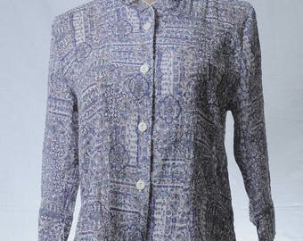 Vintage purple floral tile pattern printed blouse with ruffle collar
