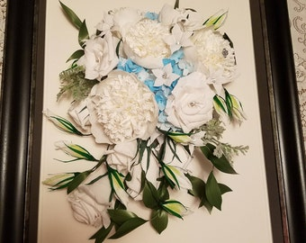 Framed Wedding Bouquet Replica/Paper Anniversary/ Crepe Paper Flowers Wall Decor
