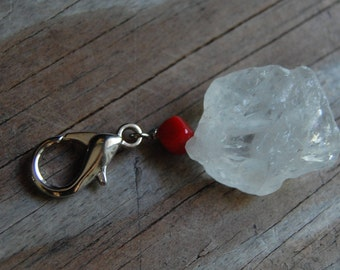 Gemstone Key Charm Genuine Raw Crystal Quartz and Red Coral