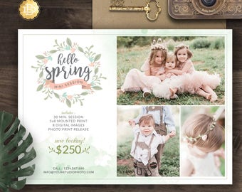 Spring Mini Session for Photographer, Photography Spring Mini Session Marketing Board, Spring Marketing Flyer - INSTANT DOWNLOAD - MS019