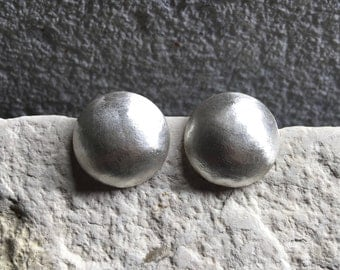 Sterling Silver Dome Brushed Earrings - Silver Dome Earrings - Silver Earrings - Silver Post Earrings