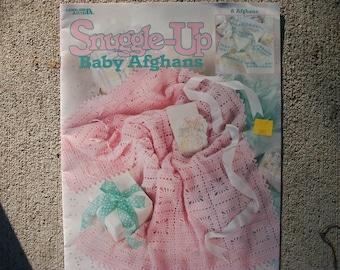 Snuggle-up Baby Afghans,crochet baby blanket afghan, crochet pattern, Leisure Arts Leaflet, 2000, baby blankets, 8 patterns
