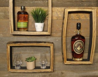 """SET of 3 - Bourbon Barrel Shadow Boxes - 17""""x9"""", 14""""x9"""", and 12""""x12"""""""