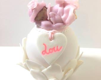 Handmade night light Led ball lumineuse-personnalisable-fleur-fimo-coeur-personnalise-idee cadeau-decoration-glitter-figurine-bebe-rose made