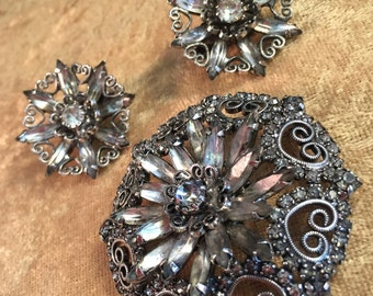 Vintage Hobé Demi Parure with Earrings and Brooch / Pin (Two-Piece Set) Floral Heart Design with Crystal Clear Rhinestones - PRETTY! 1240