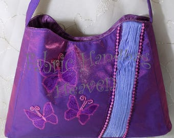 Purple Pleated Butterfly Applique Womens Evening Handbag, Quilted, Tucks, Small, Fabric, Top Handle, Decorative Beaded Purse, Fashion, Gift