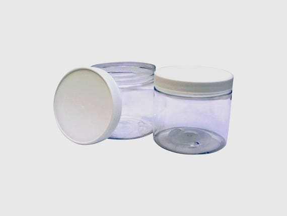 12oz Plastic Jars Clear w/ white ribbed caps (6) PET - Perfect for DIY lotion, creams, bath salts etc