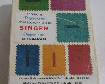 Singer professional buttonholer for vertical needle zig-zag sewing machines with much desired eyelet template