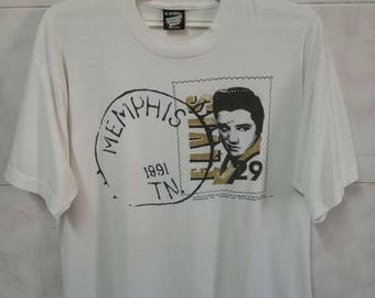 Vintage 1990 ELVIS PRESLEY American singer musician actor / rockabilly pop rare design XL size tee t-shirt