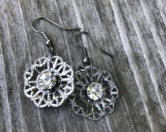 Gunmetal Earrings, Rhinestone Dangle Earings, Bohemian Style Earrings, Gray Earrings Bridesmaid Gifts,  Boho Chic Earrings BFF, gift for her