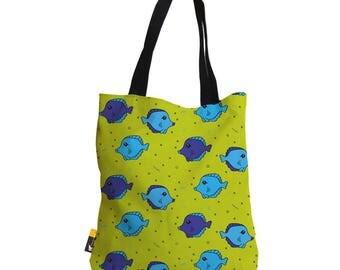 "Artist Designed Tote Bag - 18"" Inch Green Beach Bag   Fish Tank by Bigshot Robot    UBU Republic"
