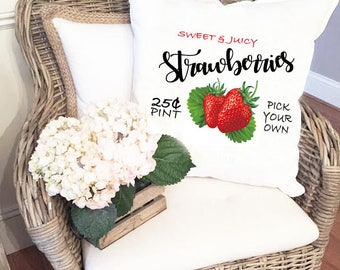 Strawberries pillow cover, Pick your own Strawberries Pillow Cover, decorative pillow