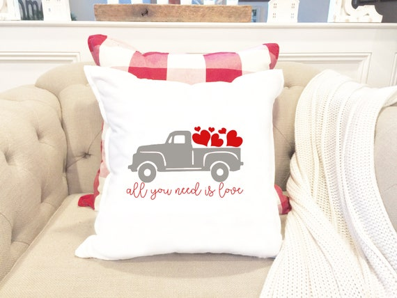 valentines day pillow cover truck hearts pillow custom pillow valentine pillow anniversary gift gift for her couples gift - Valentine Pillow