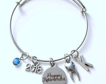 Retirement Gift for Dentist 2018 Dental Hygienist Assistant Charm Bracelet Jewelry Silver DA RDH letter initial birthstone Present DH bangle