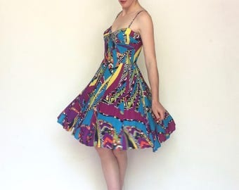 Bright Amandine 1990s abstract geometric summer scrappy dress s.S 38fr