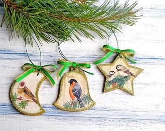 Christmas Ornament / Xmas Decoration / Merry Christmas Gift / Christmas Decoration / Christmas Decor Bullfinch Tomtit Bird