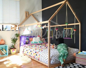 Toddler bed house bed tent bed children bed wooden house wood : kids tent beds - memphite.com