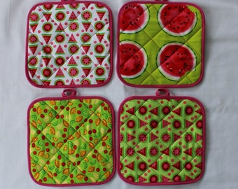 Watermelon Hot Pads / Fruit Pot Holders / Fun Hot Pads / Kitchen Accessories