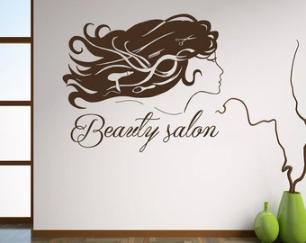 Wall Decal Beauty Salon Sign Murals Hairdresser Hairstyle Hair Barbers Hairdo Hairdressing Tools Hair Salon Vinyl Sticker Home Decor M183
