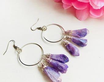 Titanium Quartz earrings, natural stone earrings, lavender quartz, Ring quartz earrings, quartz drop crystal, quartz, ring earrings