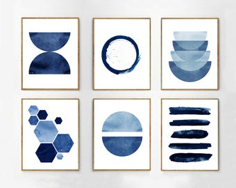 Abstract Watercolor Prints Set of 6 Blue Wall art Minimalist art Indigo Painting Navy Stripes Hexagons Geometric art Blue White Home Decor
