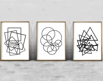 Geometric Art Prints Set Of 3 Black White Wall Art Abstract Prints  Minimalist Art Printable Posters