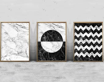 Wall Art Black And White marble wall art | etsy