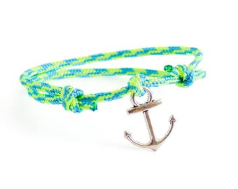 Nautical Bracelet, Rope Bracelet, Nautical Rope Jewelry With Silver Plated Anchor